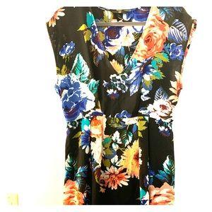 Cap sleeve, floral V neck dress.